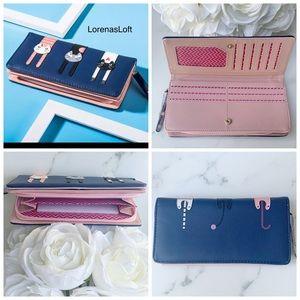 Handbags - Vegan Leather Three Cats Blue/Pink Wallet